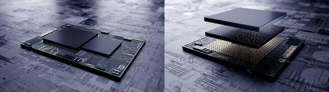 삼성전자, 최첨단 EUV 시스템반도체에 3차원 적층기술 최초 적용 (서울=연합뉴스) 삼성전자는 업계 최초로 7나노 EUV(극자외선) 시스템반도체에 3차원 적층 패키지 기술을 적용했다고 13일 밝혔다. 사진 왼쪽은 기존 시스템 반도체의 평면 설계, 오른쪽이 삼성전자의 3차원 적층 기술 'X-Cube'를 적용한 설계. [삼성전자 제공. 재판매 및 DB 금지]