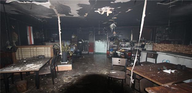 불에 탄 식당 내부 (대구=연합뉴스) 17일 오후 6시 55분께 원인을 알 수 없는 화재로 식당 주인이 사망했다. 불은 13분 만에 진압됐다. 2020.8.18 [대구소방안전본부 제공, 재판매 및 DB 금지]