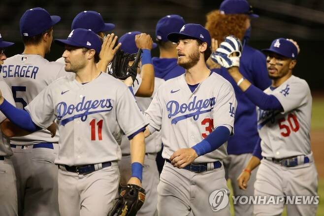 승리 뒤 하이파이브하는 다저스 선수들. 가운데는 벨린저, 오른쪽은 베츠. [AFP=연합뉴스 자료사진]
