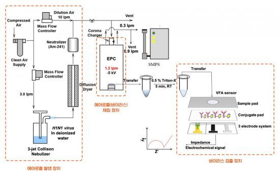 바이러스 농도 측정 모식도(개발된 시스템의 구조)