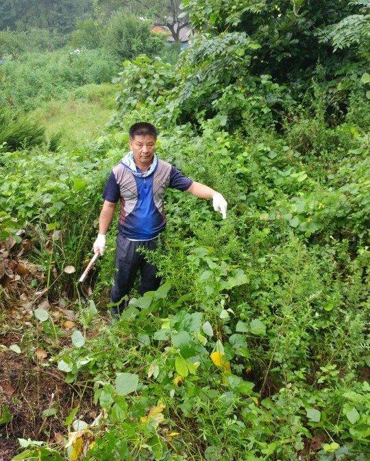 황의섭씨가 지난 8월 21일 경기도 양주시 공설묘지에서 유골 발굴작업을 하고 있다. [사진 황의섭씨]