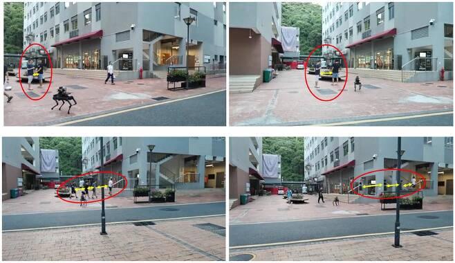 로봇개는 사람들이 모인 곳으로 가서 거리두기를 유도하는 방송을 했다(왼쪽). 로봇의 거리두기 유도를 통해 실제로 밀집도가 감소한 모습(오른쪽)./중국 남방과기대