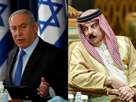 11일(이하 현지시간) 수교하기로 합의한 베냐민 네타냐후(왼쪽) 이스라엘 총리와 하마드 빈이사 알칼리파 국왕 모습. 네타냐후 총리는 지난 6월 28일 주례 내각회의를 주재하는 모습이며, 알칼리파 국왕은 지난해 12월 10일 사우디아라비아 리야드에서 열린 제40회 걸프협력이사회(GCC) 정상회의에 참석했을 때의 모습.AFP 자료사진 연합뉴스