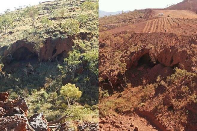호주의 세계적인 광산업체가 폭파한 고대 동굴의 전과 후