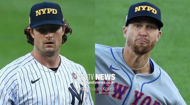 ▲ 9.11 테러 19주년을 맞이해 NYPD 모자를 쓰고 역투를 펼친 게릿 콜(왼쪽)과 제이콥 디그롬