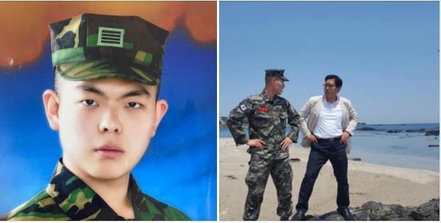 국민의힘 조수진 의원이 12일 페이스북을 통해 공개한 곽상도 의원 아들(왼쪽) 증명사진과 송석준 의원 본인 및 아들 사진.