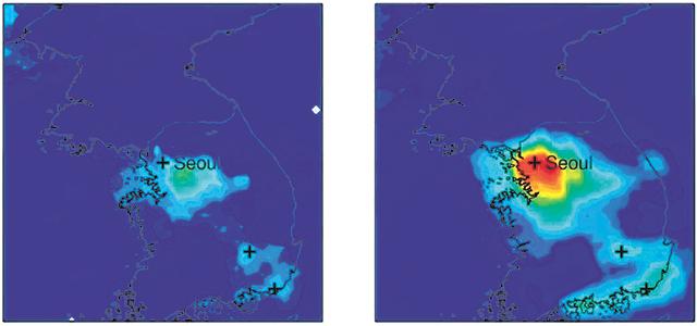 미국항공우주국(NASA)의 지구관측위성 '아우라'가 올해 2월 27일 관측한 한국의 이산화질소 농도를 지도에 표시했다(왼쪽  사진). 붉은색일수록 농도가 높다는 뜻이다. 서울 지역의 이산화질소 농도는 직전 5년인 2015∼2019년 평균(오른쪽 사진)보다  약 57% 낮은 것으로 분석됐다. NASA 제공