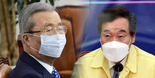 김종인 국민의힘 비상대책위원장(왼쪽)과 이낙연 더불어민주당 대표 ⓒ 시사저널 이종현