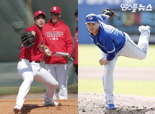 김광현과 류현진(사진=엠스플뉴스 홍순국 특파원)