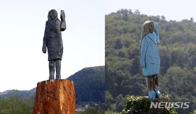 [세브니차=AP/뉴시스] 멜라니아 트럼프 여사의 고향인 슬로베니아 세브니차에서는 15일(현지시간) 그의 형상을 한 청동상의 제막식이 열렸다. 청동상은 두 달 전 방화로 소실된 목조상과 동일한 형상으로 만들어졌다. 2020.9.16.