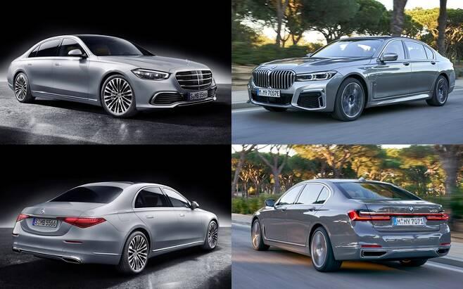 국내 출시예정인 벤츠 S클래스(사진 왼쪽)와 지난해 국내 출시된 BMW 7시리즈 [사진 제공=벤츠·BMW]