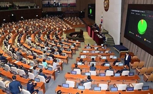 국회 본회의의 표결 모습. 세계일보 자료사진