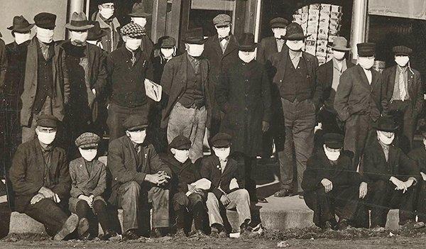 1918년 스페인 독감 당시 마스크를 착용하고 있는 미국인들 모습. 중앙포토