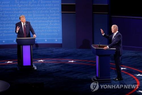 트럼프 대통령과 바이든 후보의 첫 TV토론 [로이터=연합뉴스]