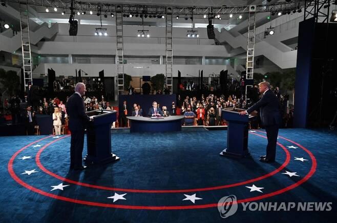 2020년 미국 대선 첫 TV 토론 현장 [AFP=연합뉴스]