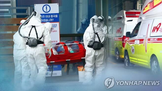 코로나19 환자 이송하는 의료진 (CG) [연합뉴스TV 제공]