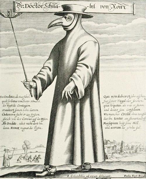 페스트가 창궐한 중세 유럽에서 페스트를 진료하러 다니던 의사의 이미지.   위키피디아