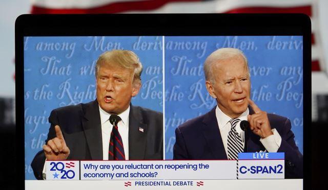 도널드 트럼프 미국 대통령과 조 바이든 민주당 대선 후보의 첫 TV토론 장면. 신화사·뉴시스