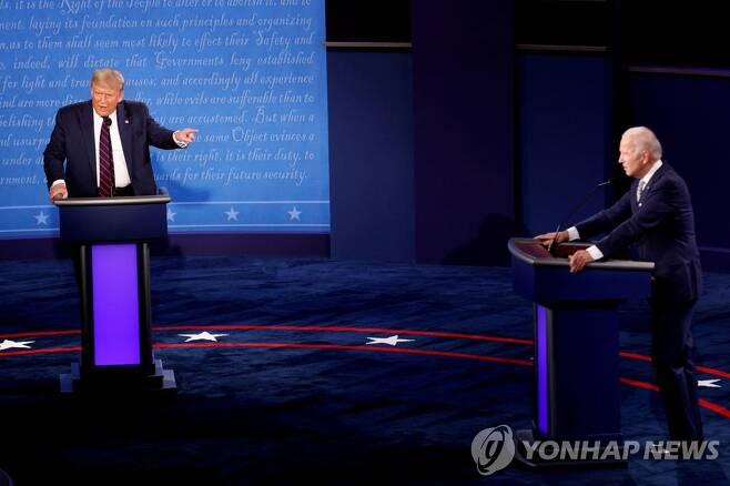 트럼프 대통령과 바이든 전 부통령의 대선토론[로이터=연합뉴스 자료사진]