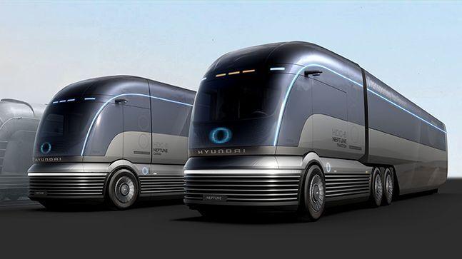 현대자동차가 2019 북미 상용 전시회에서 공개한 대형 수소트럭 콘셉트카 HDC-6 넵튠. ⓒ현대자동차