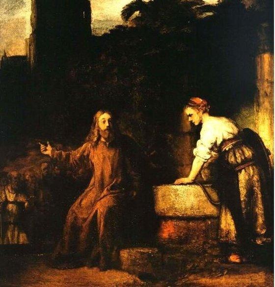 예수는 당시 유대인들이 천시하던 사마리아 지방의 여인이 건네는 물을 마시면서 종족의 벽을 허물었다. 렘브란트의 작품 '그리스도와 사마리아 여인'. [중앙포토]