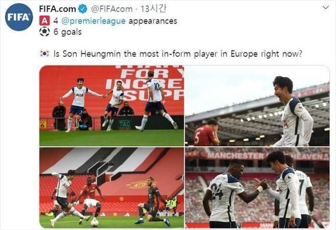 국제축구연맹(FIFA)은 새 시즌 잉글랜드 프리미어리그 개막 후 4경기에서 6골을 넣고 득점 선두에 오르는 등 엄청난 활약을 선보이는 손흥민을 공식 트위터에 언급했다.(사진=FIFA 공식 트위터 갈무리)
