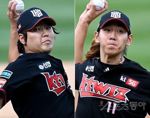 KT 하준호(왼쪽)-이대은. 스포츠동아DB