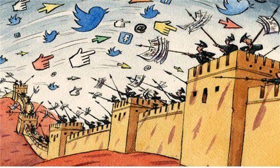 """<중국의 인터넷 검열을 풍자한 만화. 2018년 2월 조지오웰의 """"동물농장""""과 """"1984"""" 등은 중국의 인터넷에서 금칙어가 됐다. https://www.zerohedge.com/news/2018-03-02/great-firewall-china-government-bans-orwells-animal-farm-letter-n>"""
