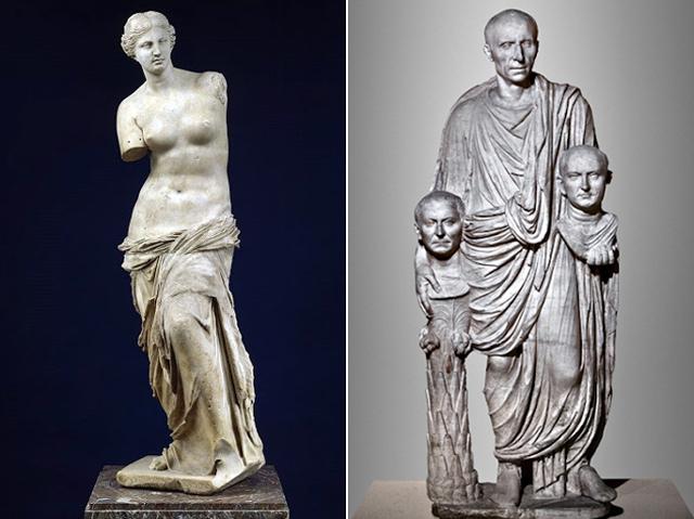 (좌)밀로의 비너스, 기원전 130~100년, 루브르박물관 (우)조상의 흉상을 들고 있는 로마의 귀족, 1세기경, 카피톨리노박물관
