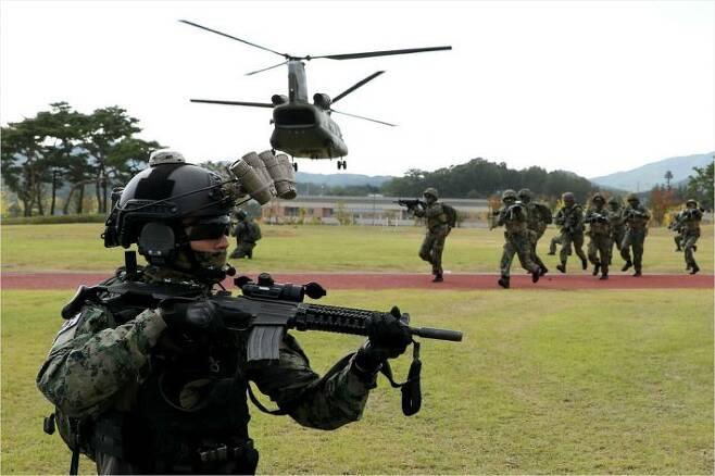 지난 9월 22일 국군의 날 기념식 준비사열에서 촬영된 특전사 대원의 모습. 이 대원은 헬멧에 GPNVG-18 야간투시경을 부착하고 총기에 조준경도 달려 있지만, 밤에 야간투시경을 쓴 채로 조준할 수 있는 표적지시기는 사진에 보이지 않는다.(사진=국방부 제공)