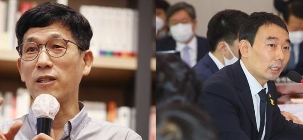 진중권 전 동양대 교수(왼쪽)와 김용민 더불어민주당 의원 [연합뉴스 자료사진]