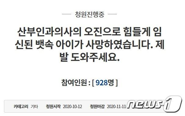 지난 12일 청와대 국민청원 게시판에 산부인과 의사의 오진으로 뱃속의 아이를 허무하게 잃었다는 청원이 게시됐다. (청와대 국민청원 게시판 캡처) © 뉴스1