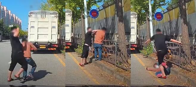 30대 남성 A씨가 지난 9일 오전 11시40분쯤 평택 팽성읍 한 도로에서 맞은편 차로에서 60대 남성 B씨의 얼굴 등을 마구 때린 혐의를 받고 있다./사진=자동차 커뮤니티 '보배드림'