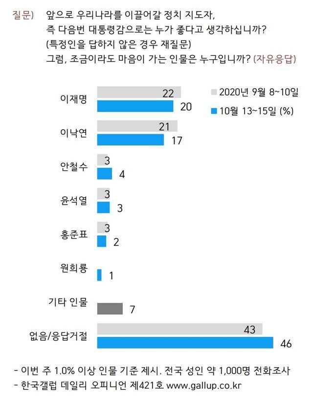 [서울=뉴시스]한국갤럽 10월 차기 정치 지도자 선호도 조사결과. (자료=한국갤럽 제공)