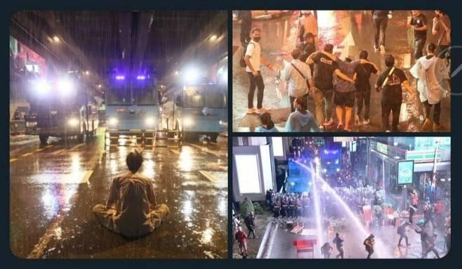 """태국 시민들이 """"태국 정부가 한국산 물대포 트럭으로 시위대를 탄압하고 있다""""며 공유한 사진. (사진=트위터 캡처)"""