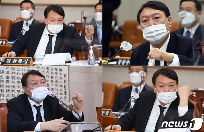 윤석열 검찰총장이 22일 국회에서 열린 법제사법위원회 대검찰청 국정감사에서 의원들과 질의응답을 하고 있다./사진=뉴스1