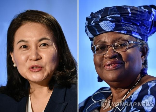 WTO 수장 선거 최종결선에 오른 유명희·오콘조-이웰라 - 세계무역기구(WTO) 사무총장 선거에서 결선에 진출한 유명희 한국 산업통상자원부 통상교섭본부장과 응고지 오콘조-이웰라 전 나이지리아 전 재무·외무장관이 지난 7월 15~16일 스위스 제네바에서 각각 출마 기자회견을 할 당시의 모습. 제네바 AFP 연합뉴스