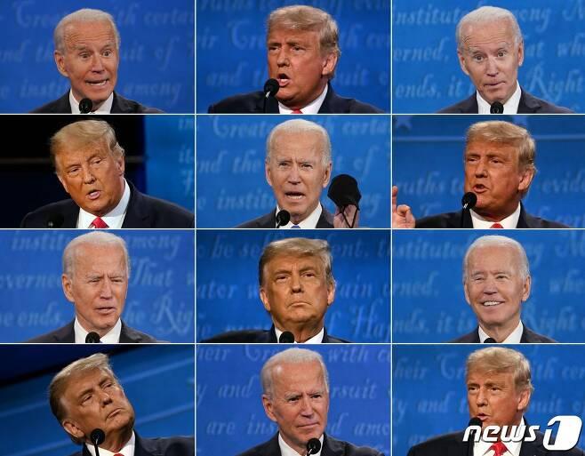 도널드 트럼프 미국 대통령과 조 바이든 민주당 대선후보가 22일(현지시간) 테네시주 내슈빌의 벨몬트 대학에서 열린 대선후보 마지막 TV 토론에서 다양한 표정을 보여주고 있다. © AFP=뉴스1