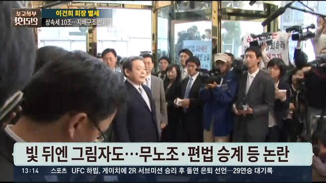 ▲ 10월26일 이건희 특검수사 이력을 '수난'이라 표현한 TV조선 '보도본부 핫라인'