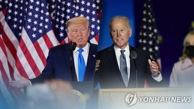 막판까지 초접전…트럼프·바이든 (CG) [연합뉴스TV 제공]