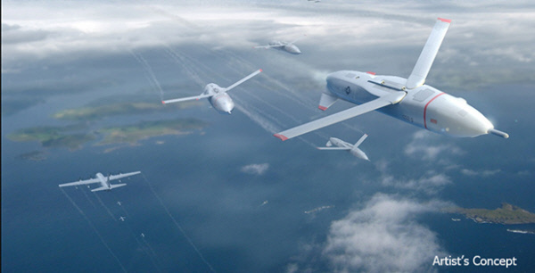 미 국방부 산하 방위고등연구계획국(DARPA)의 군집드론 이용 '그렘린 프로젝트' 개념도.