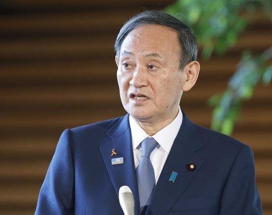 8일 오전 조 바이든 당선자에게 축하 메시지를 보낸 스가 요시히데 일본 총리. [교도=연합뉴스]