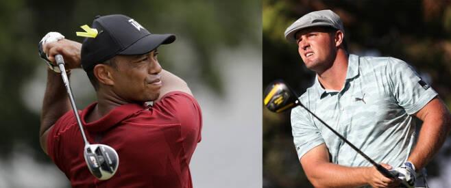 타이거 우즈(왼쪽)는 12일 밤 개막하는 PGA 투어 마스터스 토너먼트에서 통산 6번째 우승에 도전한다. 괴물 같은 장타로 골프의 패러다임을 바꾸고 있는 브라이슨 디섐보는 US오픈에 이어 2연속 메이저 우승을 노린다.AP·PGA 투어 홈페이지 제공