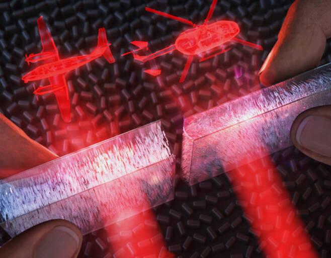 압력감응형 액정 기반 광변조기를 이용, 가벼운 손가락 터치만으로 매우 빠르게 홀로그램 이미지를 스위칭할 수 있는 장치 모식도.[포스텍 제공]