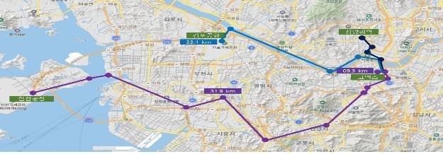 UAM 실증노선안 [인천시 제공, 재판매 및 DB 금지]