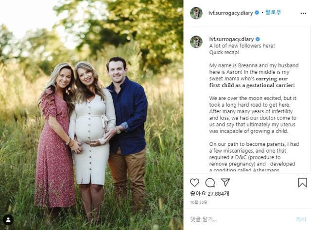 브라이안나 록우드는 자신의 대리모가 되준 엄마 줄리 러빙의 임신 및 출산 과정을 사회관계망서비스(sns)에 공개해왔다. 브라이안나 록우드 SNS 화면 캡처