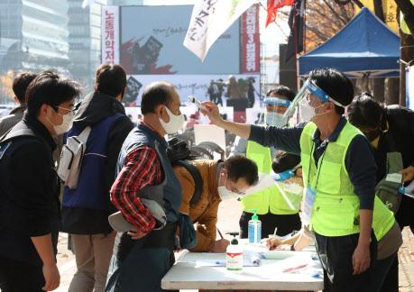 14일 오후 서울 영등포구 여의도공원 앞에서 전국노동자대회가 열린 가운데 주최 측 관계자들이 집회 참가자들의 체온을 측정하고 있다. 사진=연합뉴스.