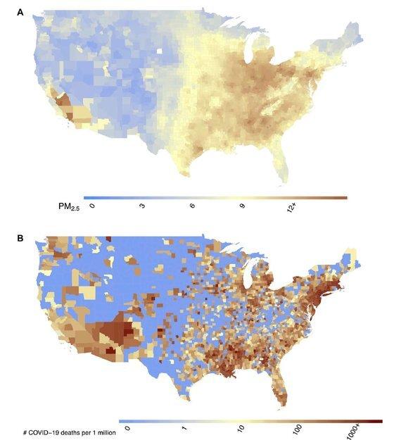 초미세먼지 농도(A)와 인구 100만 명 당 코로나19 사망률(B) 비교. 자료: 하버드대 T.H.찬 공중보건대학원