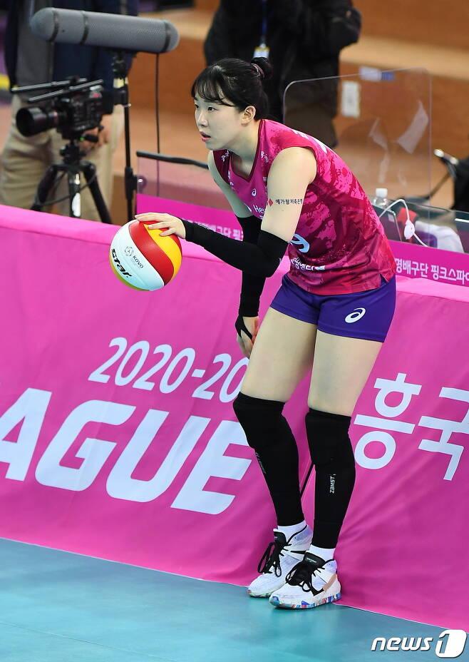 2020-21시즌 흥국생명 연승에 힘을 보태고 있는 김미연. (한국배구연맹 제공) © 뉴스1