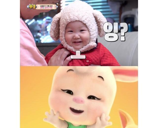 하영이(위)와 '돼지토끼' 뮤직비디오(아래). KBS2 '슈퍼맨이 돌아왔다' 방송 캡처, 아이오케이컴퍼니 제공